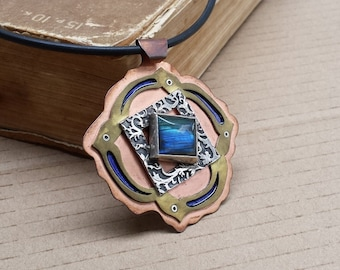Blue labradorite necklace. Statement artisan necklace. Silver, copper and brass one of a kind pendant with labradorite