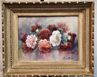 Madeleine Renaud (1900-1994) original old watercolour Peony bouquet mid century period frame Mother Wife Father Husband flowers ART GIFT