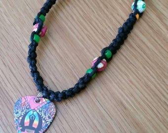 Hemp Necklace / Guitar Pick Necklace / Black Hemp Necklace / Zen Necklace / Yoga Necklace / Flower Hemp Necklace / Guitar Pick Jewelry
