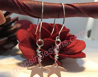 Mixed metal star earrings in argentium silver and copper