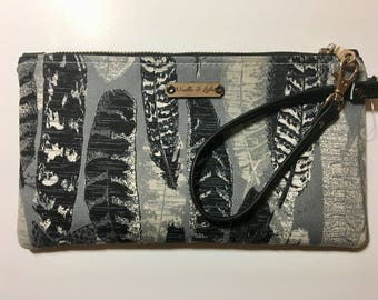 Black and Grey Boho Feather Wristlet, Clutch, Small Purse, Wallet, Phone Bag. Birthday Gift for Her, Womens Gift. Handmade by Noelle & Lola