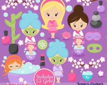 INSTANT DOWNLOAD - Spa Clipart or Spa Party Vectors for personal and commercial use