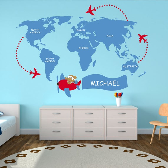 Nursery world map kids world map decal world map wall like this item gumiabroncs Image collections