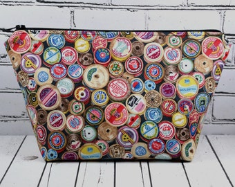 Spools of Thread Project Bag, Make Up Bag, Sewing Themed Gift
