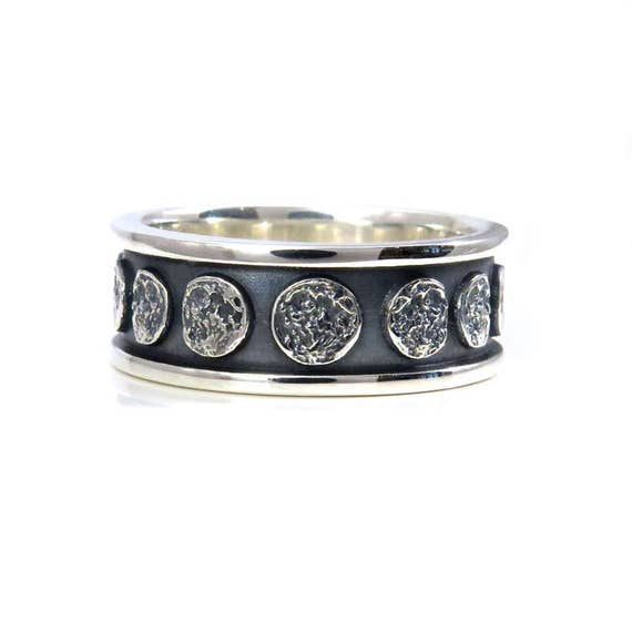 Ready to Ship Size 10 - 10.5 Moon Phase Sterling Silver Band - Lunar Mens Engagement Ring