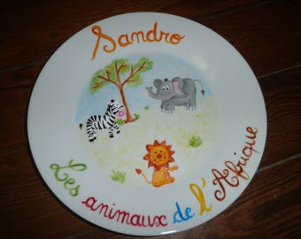 Base painted porcelain animals personalized Africa 27cm