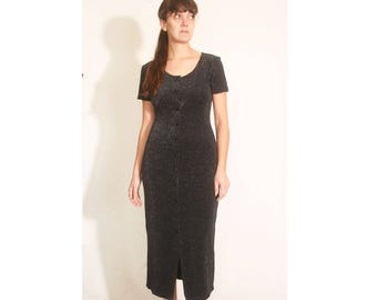 Vintage 1990s Rampage Button Up Striped Sparkle and Black Stretchy Fitted Long Dress size M
