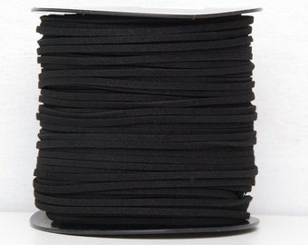 Black faux suede cord 3mm Jewelry supplies Jewelry cord  Suede rope Suede thread Craft project/ 3 meters