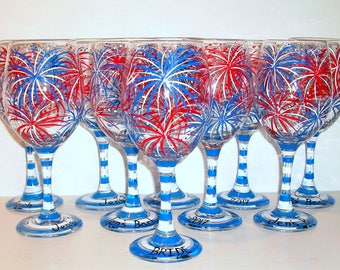 July 4th, Fireworks, Red White & Blue Set of 10 - 21 oz Hand Painted Wine Glasses Wedding Bridesmaids Bachelorette Party Mother of Bride