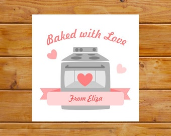 Personalized Baked with Love Tags - Baking Tags - Homemade Gift Tags - Digital File, Printable