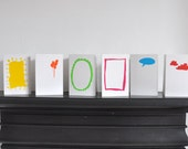 6 cards to decorate by children with colourful envelopes