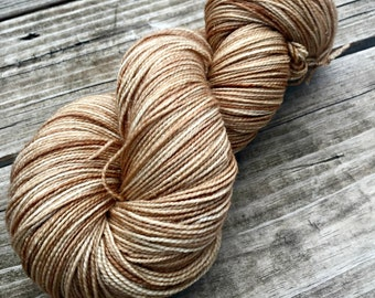 Sparkle Sock Yarn Sandy Beach Hand Dyed Hand Painted tan cream creme 438 yards superwash merino nylon stellina fingering brown tan