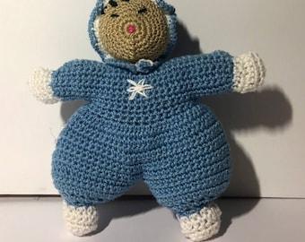 Eskimo made amigurimi crochet handmade. Craft creation.