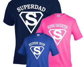 Father son shirts, father daughter matching shirts, fathers day gift, Super dad shirt, new dad gift