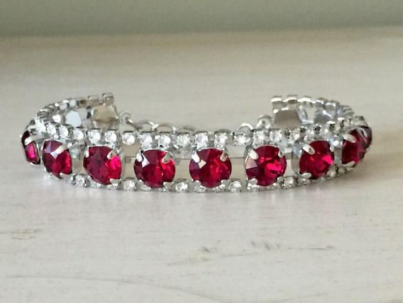 Ruby & Clear Crystal Bracelet