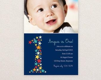 Photo Birthday Invitations. Boys 1st birthday. I Customize, You Print.