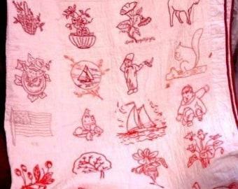 Vintage Redwork Patterns, COMMUNITY Quilt, Hand Embroidery, 74 Penny Squares, Redwork Patterns, Vintage Embroidery Pattern