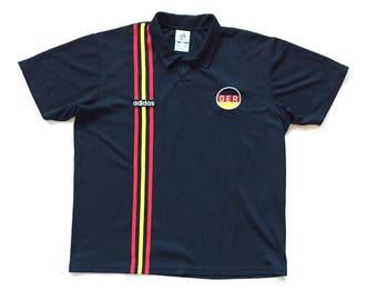 90s adidas germany german soccer deutscher dutch jersey size Large striped eagle