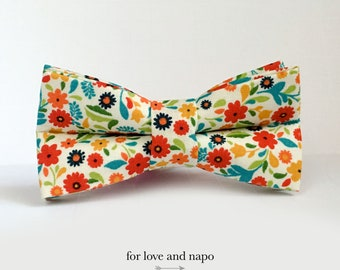 orange and blue flowers dog or cat bow tie