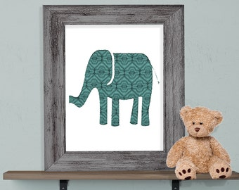 Moroccan Patterned Elephant Print 8x10 or 11x14 with Matte Options