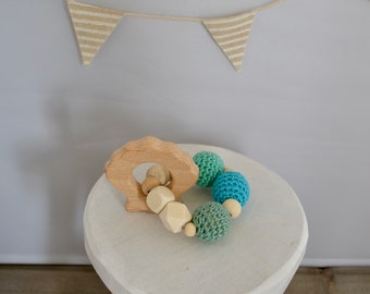TEETHING ring of crochet and wooden beads
