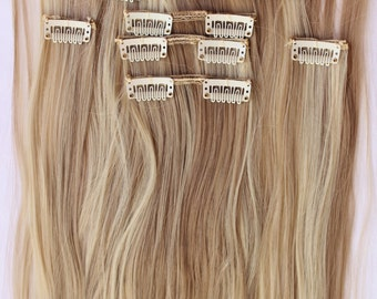 "READY TO SHIP 26"" Sandy Blonde Bleach Blonde Hair Extensions, Blonde Hair, Clip in Extensions, 8 piece Set, Bleach Blonde Highlights"
