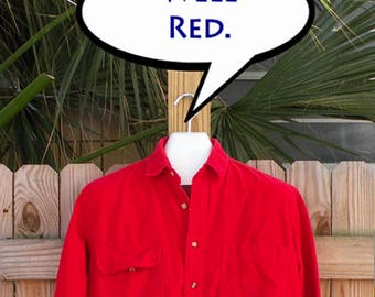 Red Chamoix Flannel Vintage Shirt // Boho Rustic Camping Men Sz Large