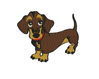 a dog embroidery design, Dachshund