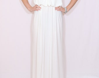 White maxi dress Long white dress Maxi dress White wedding dress Spaghetti strap dress