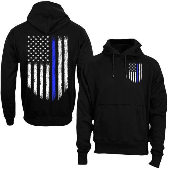 Thin Blue Line Hoodie Police USA Flag Hoodie Thin Blue Line Shirt Back the BLUE Men's Hoodie bfR337v