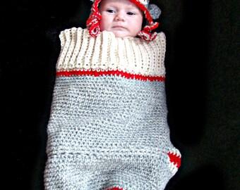Sock Monkey Cocoon and Hat Set Crochet Pattern pdf 411