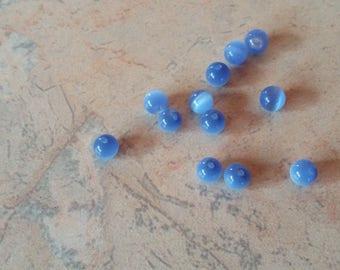 """Cat's eye"" glass beads 6mm blue"