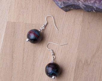 Ceramic ball Earrings - marbled ball earrings   Round dangle earrings   Handmade mottled ceramic jewellery  