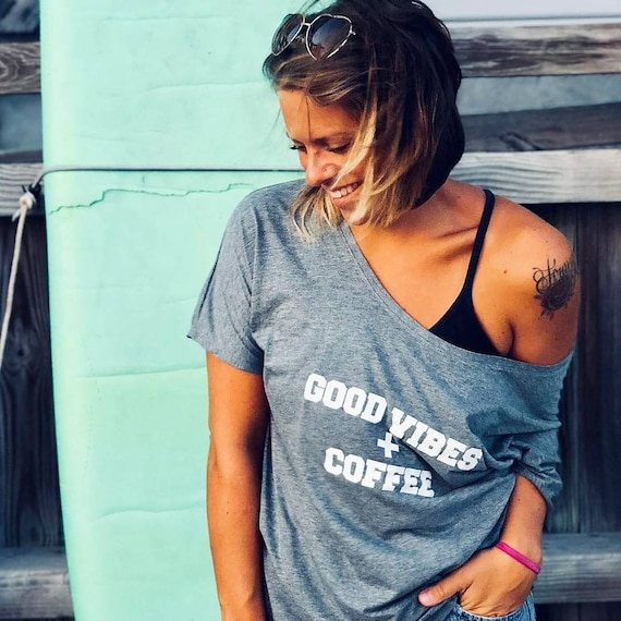 GOOD VIBES + COFFEE, Gray Off Shoulder Tee, Coffee Tee, Coffee T-shirt, Good Vibes Tee, Coffee Shirt, Coffee Tops, Coffee Gifts