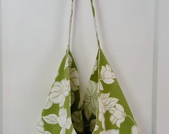 Boho, hobo bag in summery green and white cotton print--bonus wristlet included