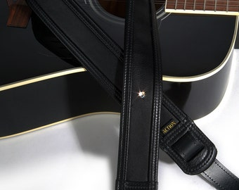 Black Leather Guitar Strap with a Solitary Swarovski Rhinestone