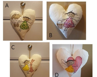 Soft Linen Decorative Hanging Heart Shaped Pillow. Stitched with adorable angel designs.