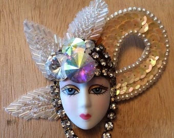 Hand-crafted Art Deco Lady Face Pin / Brooch