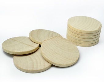 25,  1 Inch (25mm) Wood Round Circle Discs, Wood Circle Cut-Outs