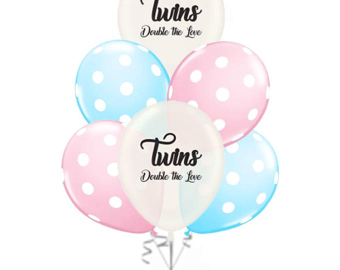 Twins Balloons, Twins Balloons for a Baby Shower, Twins Gender Reveal Balloons, Twins Announcement, Twins Sayings Double the Love