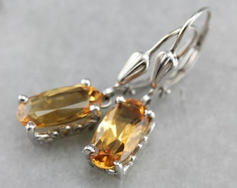 Citrine Drop Earrings, Citrine and White Gold, November Birthstone VD8K56