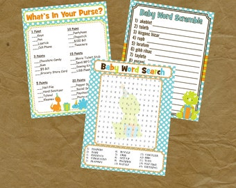 DINOSAUR Baby Shower Game Pack - Instant Download