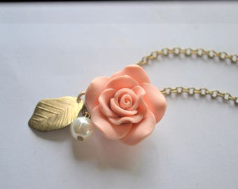 Peach Polymer Flower, Pink Polymer Clay Flower, Long Brass Chain, Long Brass Necklace, Gold Charm Necklace, Gold Leaf, Rose & Pearl Necklace