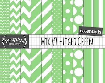Green Scrapbook Paper, Digital Scrapbooking Paper, Chevron Digital Paper, Diagonal Stripe, Polka Dot, Stripe Paper