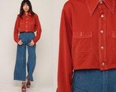 Rust Crop Top 70s Cropped Shirt Bohemian Retro Blouse 1970s Hippie Long Sleeve Button Up Shirt Plain Extra Large xl