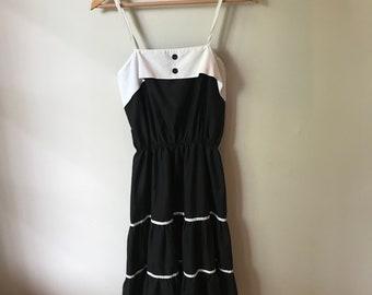Handmade Vintage Black & White Peasant Dress