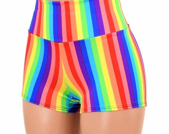 Vertical Rainbow Stripe Print High Waist Pinup Festival Rave Gay Pride Shorts - 154820