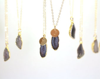 Best Friend Necklace Set, Mother Daughter Necklace Set, Gold Personalized Necklace, Gold Matching Geode Necklaces, Gold Necklace for Women