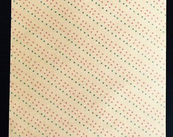 Light kraft leaf decorated - lines of dots - pink and green