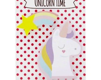 UNICORN STICKY NOTES Pastel Shooting Star Rainbow Sticky Note Pad Memo Pads Card Making Scrapbooking Stickies Notepad Planner Notes Bookmark